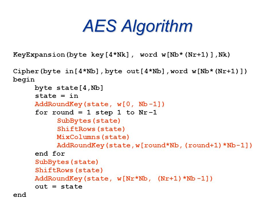AES Algorithm KeyExpansion(byte key[4*Nk], word w[Nb* ( Nr+1) ],Nk)
